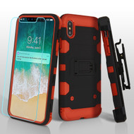 Military Grade Certified Storm Tank Hybrid Case with Holster and Tempered Glass Screen Protector for iPhone XS Max - Black Red