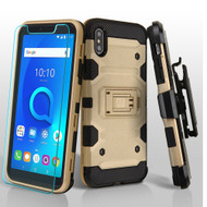 Military Grade Certified Storm Tank Hybrid Case with Holster and Tempered Glass Screen Protector for iPhone XS Max - Gold