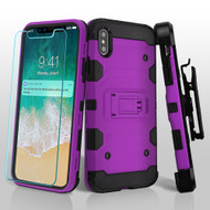 Military Grade Certified Storm Tank Hybrid Case with Holster and Tempered Glass Screen Protector for iPhone XS Max - Purple