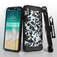 Military Grade Certified Storm Tank Hybrid Case with Holster and Tempered Glass Screen Protector for iPhone XS Max - Camouflage