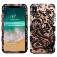 Military Grade Certified TUFF Hybrid Armor Case for iPhone XS Max - Phoenix Flower Rose Gold