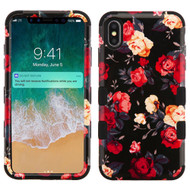Military Grade Certified TUFF Hybrid Armor Case for iPhone XS Max - Red and White Roses