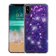 Quicksand Glitter Transparent Case for iPhone XS Max - Purple
