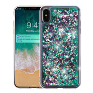 Quicksand Glitter Transparent Case for iPhone XS Max - Teal Green