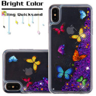 Quicksand Glitter Transparent Case for iPhone XS Max - Butterfly Dancing