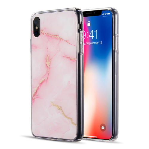 Marble Imd Soft Tpu Glitter Case For Iphone Xs Max Pink