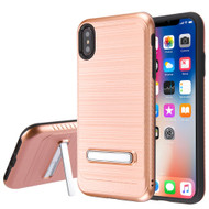 Brushed Multi-Layer Hybrid Armor Case with Kickstand for iPhone XS Max - Rose Gold