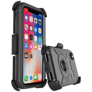 Anti-Shock Heavy Duty Hybrid Case with Holster for iPhone XS Max - Black