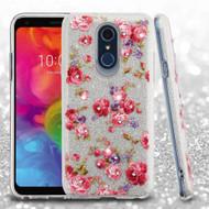Full Glitter Diamond Hybrid Protective Case for LG Q7 Plus - Vintage Rose Bush