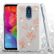 Full Glitter Diamond Hybrid Protective Case for LG Q7 Plus - Butterflies Spring Flowers