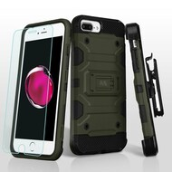 Military Grade Storm Tank Case + Holster + Tempered Glass Protector for iPhone 8 Plus / 7 Plus / 6S Plus / 6 Plus - Green