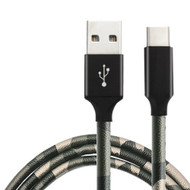 Camouflage Leather Wrap USB-C (Type-C) Charge and Sync Cable - Marine