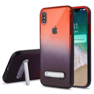 Bumper Shield Clear Transparent TPU Case with Magnetic Kickstand for iPhone XS Max - Black Red