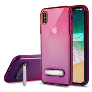 Bumper Shield Clear Transparent TPU Case with Magnetic Kickstand for iPhone XS Max - Purple Hot Pink