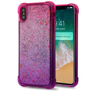 Confetti Quicksand Glitter Electroplating Transparent Case for iPhone XS Max - Hot Pink Purple