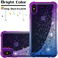 Confetti Quicksand Glitter Electroplating Transparent Case for iPhone XS Max - Purple Blue
