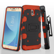 Military Grade Certified Storm Tank Hybrid Case + Holster + Tempered Glass for Samsung Galaxy J7 (2018) - Black Red