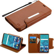 Designer Leather Wallet Shell Case for LG Stylo 4 - Brown