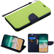 Diary Leather Wallet Stand Case for iPhone XS Max - Green Navy Blue