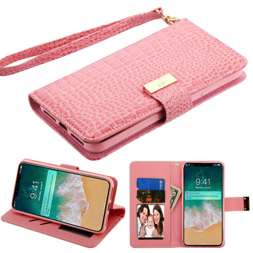 iphone xs wallet case pink