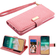 Crocodile Embossed Leather Wallet Case for iPhone XS Max - Pink