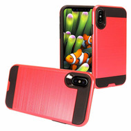 Brushed Coated Hybrid Armor Case for iPhone XS Max - Red