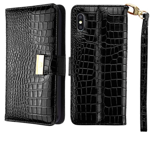 newest collection 34fb9 5d17f Crocodile Embossed Leather Wallet Case for iPhone XS Max - Black ...