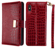 Crocodile Embossed Leather Wallet Case for iPhone XS Max - Burgundy