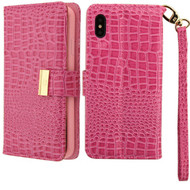 Crocodile Embossed Leather Wallet Case for iPhone XS Max - Hot Pink