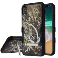 Military Grade Certified TUFF Hybrid Armor Case with Stand for iPhone XS Max - Tree Camouflage