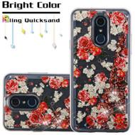 Quicksand Glitter Transparent Case for LG Q7 Plus - European Rose