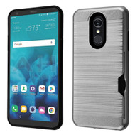 ID Card Slot Hybrid Case for LG Stylo 4 - Grey