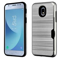 ID Card Slot Hybrid Case for Samsung Galaxy J3 (2018) - Grey