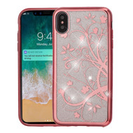 Electroplating Quicksand Glitter Transparent Case for iPhone XS Max - Maple Vine
