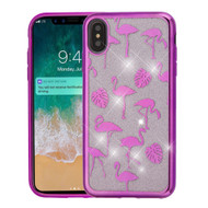 Electroplating Quicksand Glitter Transparent Case for iPhone XS Max - Purple Flamingo Land