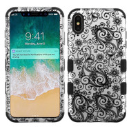 Military Grade Certified TUFF Hybrid Armor Case for iPhone XS Max - Lace Flower Black
