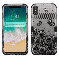 Military Grade Certified TUFF Hybrid Armor Case for iPhone XS Max - Four Leaves Clover Black