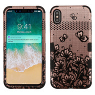 Military Grade Certified TUFF Hybrid Armor Case for iPhone XS Max - Lace Flower Rose Gold