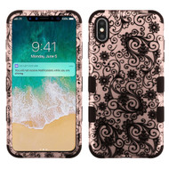 Military Grade Certified TUFF Hybrid Armor Case for iPhone XS Max - Four Leaves Clover Rose Gold