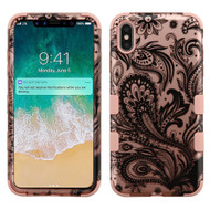 Military Grade Certified TUFF Hybrid Armor Case for iPhone XS Max - Phoenix Flower Rose Gold 042