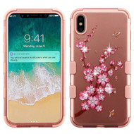 Military Grade Certified TUFF Diamond Hybrid Armor Case for iPhone XS Max - Spring Flower Rose Gold