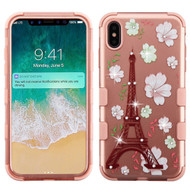 Military Grade Certified TUFF Diamond Hybrid Armor Case for iPhone XS Max - Eiffel Tower Rose Gold
