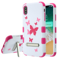 Military Grade Certified TUFF Hybrid Armor Case with Stand for iPhone XS Max - Butterfly Dancing