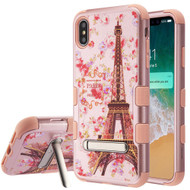 Military Grade Certified TUFF Hybrid Armor Case with Stand for iPhone XS Max - Paris in Full Bloom Rose Gold