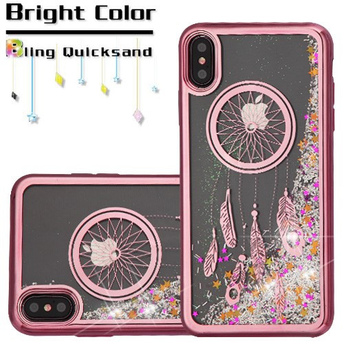 electroplating quicksand glitter transparent case  iphone xs max dreamcatcher rose gold