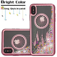Electroplating Quicksand Glitter Transparent Case for iPhone XS Max - Dreamcatcher Rose Gold