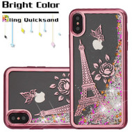 Electroplating Quicksand Glitter Transparent Case for iPhone XS Max - Eiffel Tower Rose Gold