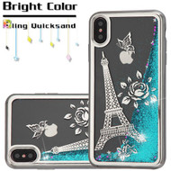 Electroplating Quicksand Glitter Transparent Case for iPhone XS Max - Eiffel Tower Silver
