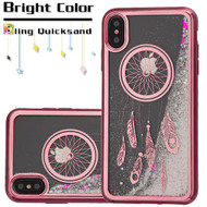 Electroplating Quicksand Glitter Transparent Case for iPhone XS Max - Dreamcatcher Rose Gold 035