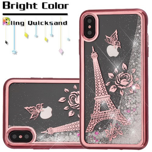 Electroplating Quicksand Glitter Transparent Case For Iphone Xs Max